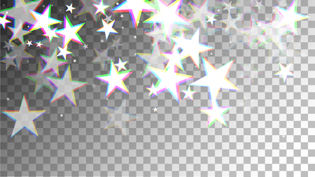 Glitch Art Background. White Stars with Trandy Glitch Effect. Postcard, Packaging, Textile Print. Digital Night Stars Backdrop. Vector Illustration. Vettoriali