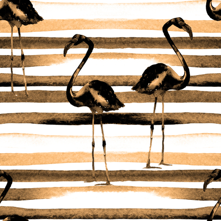 Watercolor Stripes Seamless Pattern with Flamingo. Hand Drawn Watercolor Illustration. Beautiful Aloha Swimwear Design. Background Texture, Wrapping Paper, Textile, Fabric or Wallpaper Interior Design Stock Photo