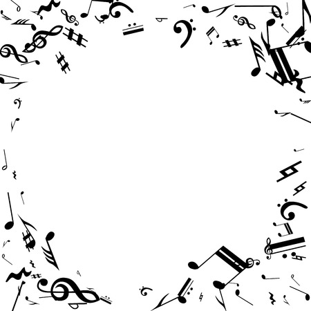 Black Musical Notes on White Background.  Many Random Falling Notes, Bass and Treble Clef. Vector Musical Symbols.  Jazz Background. Abstract Black and White Vector Background. Vettoriali