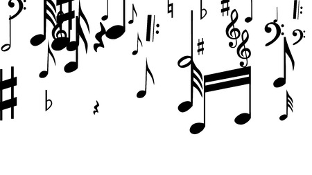 Musical Notes on White Background.  Many Random Falling Bass, Treble Clef and Notes. Vector Musical Symbols.  Jazz Background. Abstract White and Black Vector Background.