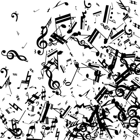 Black Musical Notes on White Background.  Many Random Falling Bass, Treble Clef and Notes. Vector Musical Symbols.  Jazz Background. Abstract Black and White Vector Background.