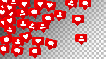 Social Media Marketing. Likes, Follow, Friend, Comment, Message Icons   Rating Scale Elements of Design for Web, Advertisement, Promotion, Marketing, Concept for Social Media Design.  Vector.