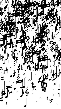 Black Musical Notes on White Background.  Vertical Orientation. Many Random Falling Bass, Treble Clef and Notes. Vector Musical Symbols.  Abstract White and Black Vector Background. Jazz Background.  Illustration