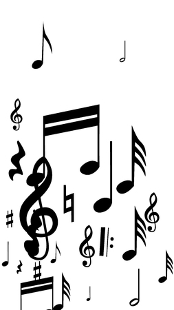 Black musical notes on white background. Vertical orientation. Many random falling notes, bass and treble clef. Vector musical symbols. Abstract white and black vector background.