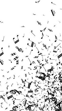 Black Musical Notes on White Background.  Vertical Orientation. Many Random Falling Bass, Treble Clef and Notes. Vector Musical Symbols.  Jazz Background. Abstract Black and White Vector Background.