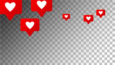 Social Media Marketing. Likes Icons.  Rating Scale Elements of Design for Web, Advertisement, Promotion, Marketing, Concept for Social Media Design.  Notifications with Likes. Vector illustration.  Illustration