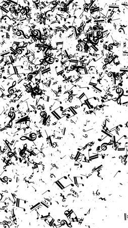 Musical Notes on White Background.  Vertical Orientation. Many Random Falling Notes, Bass and Treble Clef. Vector Musical Symbols.  Jazz Background. Abstract Black and White Vector Background.
