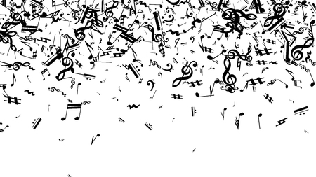 Black Musical Notes on White Background.  Many Random Falling Notes, Bass and Treble Clef. Vector Musical Symbols.  Jazz Background. Abstract Black and White Vector Background. Illustration