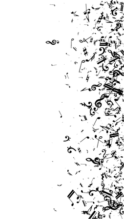 Musical Notes on White Background. Vertical Orientation. Many Random Falling Bass, Treble Clef and Notes. Vector Musical Symbols. Abstract White and Black Vector Background.