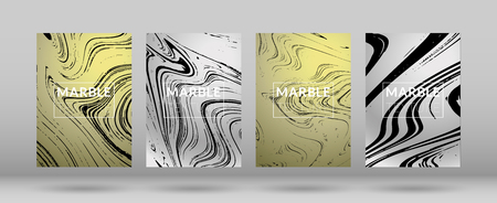 Set of  Covers with Silver Marble Texture. Gradient Vector Marble. Marble Textured Cool Cover, Party Flyers, Business Card, Poster Design, Futurist Title Page.