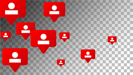 Social Media Marketing. Followers Icons.  Rating Scale Elements of Design for Web, Advertisement, Promotion, Marketing, Concept for Social Media Design.  Notifications with Followers. Vector. Ilustrace