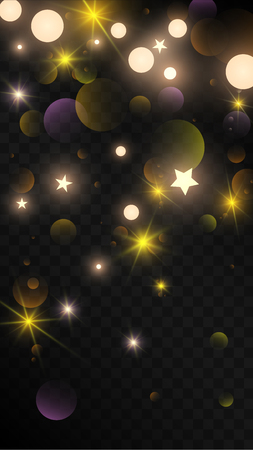 Many Random Falling Golden Stars Confetti on Black Background. Vector Stars Sky. Invitation Background. Banner, Greeting Card,  New Year and Christmas card, Postcard, Packaging, Textile Print. 일러스트