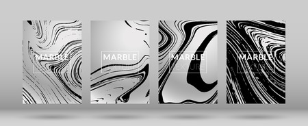 Set of  Covers with Marble Texture. Gradient Vector Marble. Silver Textured Cool Cover, Party Flyers, Business Card, Poster Design, Futurist Title Page.