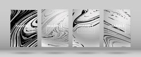 Set of  Covers with Silver Marble Texture. Gradient Vector Marble. Silver Textured Cool Cover, Party Flyers, Business Card, Poster Design, Futurist Title Page.