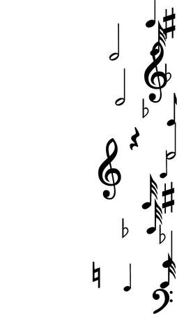 Black Musical Notes on White Background.  Vertical Orientation. Иллюстрация