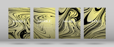 Set of Covers with Gold Marble Texture.