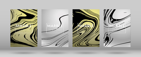 Set of Covers Silver and Gold Marble Texture. Ink Splash. Colorful Fluid. Poster, Brochure, Invitation, Simple Design Presentation, Cover Book, Magazine Cover, Catalog, Sale, Announcement. Size A4.