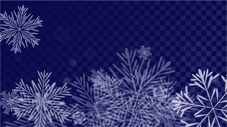 Beautiful Background with Falling Snowflakes.  Element of Design with Snow for a Postcard, Invitation Card, Banner, Flyer. Vector Falling Snowflakes. Vector Snowflakes Background