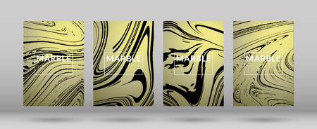 Set of  Covers with Gold Marble Texture. Ink Splash. Colorful Fluid. Poster, Brochure, Invitation, Simple Design Presentation, Cover Book, Magazine Cover, Catalog, Sale, Announcement. Size A4. Vectores