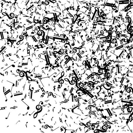 Notas musicales negras sobre fondo blanco. Muchos graves aleatorios, clave de sol y notas. Símbolos musicales vectoriales. Fondo de jazz. Fondo abstracto del vector blanco y negro.