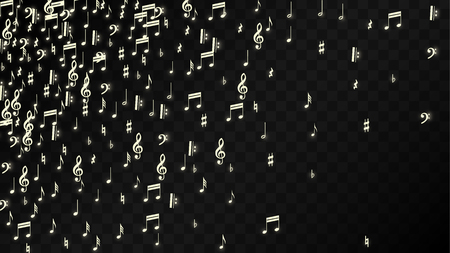 Golden Musical Notes on Black Background. Vector Luminous Musical Symbols.   Many Random Falling Notes, Bass and Treble Clef.  Magic Jazz Background.  Abstract Black and White Vector Illustration.