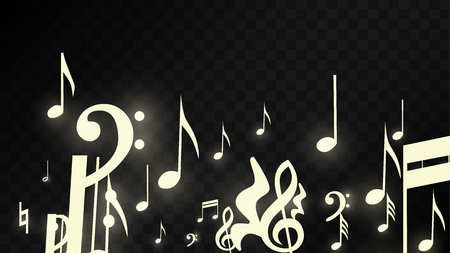 Golden Musical Notes on Black Background. Vector Luminous Musical Symbols.   Many Random Falling Notes, Bass and Treble Clef.  Jazz Background.  Abstract Black and White Vector Illustration. Stock Illustratie