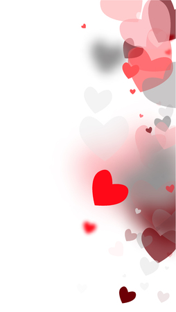 Blurred Hearts Background for your Design. Many Random Falling Hearts. Wedding Background for Greeting Card, Invitation or Banner.   Vector illustration.