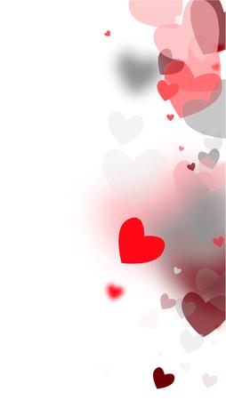 Blurred Hearts Background for your Design. Many Random Falling Hearts. Wedding Background for Greeting Card, Invitation or Banner.   Vector illustration. Illustration
