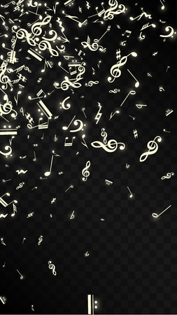Golden Musical Notes on Black Background. Vector Luminous Musical Symbols.   Many Random Falling Notes, Bass and Treble Clef.  Magic Jazz Background.  Abstract Black and White Vector Illustration. Illustration