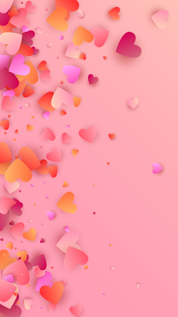 Red Hearts Falling on Pink Background. Illustration with Red Hearts for your Design.    Valentines Background for Greeting Card, Invitation, Banner, Wallpaper, Flyer.  Vector illustration