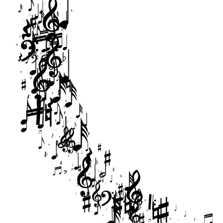 Musical Notes on White Background.  Many Random Falling Notes, Bass and Treble Clef. Vector Musical Symbols.  Jazz Background. Abstract White and Black Vector Background.