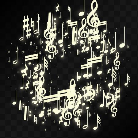 Notas musicales de oro sobre fondo negro. Vector símbolos musicales luminosos. Muchas notas que caen al azar, clave de sol y de graves. Fondo mágico de jazz. Ilustración de vector abstracto blanco y negro.