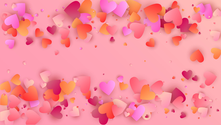 Hearts Falling Down. Illustration with Beautifull Hearts for your Design.  Valentines Background for Greeting Card, Invitation, Banner, Wallpaper, Flyer. Vector illustration.