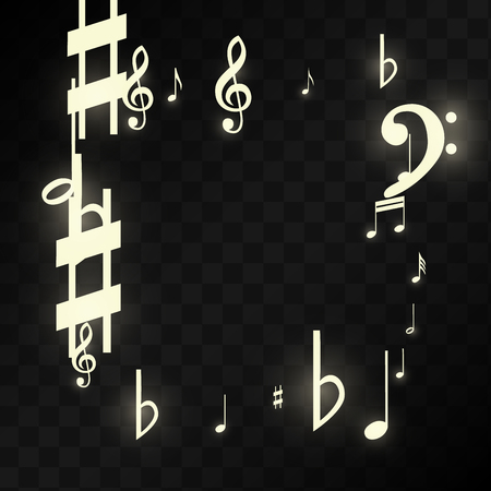 Magic Musical Notes on Black Background. Vector Luminous Musical Symbols.   Many Random Falling Notes, Bass and Treble Clef.  Jazz Background.  Abstract Black and White Vector Illustration. Illustration