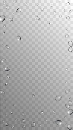 Rain Drops on Transparent Background. Realistic Water Drops for Your Design. Condensation on Glass with many Clean Droplet. Dew Backdrop. Vector illustration.  イラスト・ベクター素材