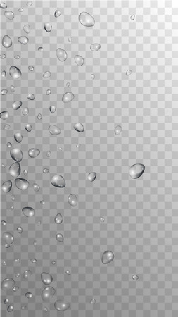 Rain Drops on Transparent Background. Beautiful Water Drops for Your Design. Condensation on Glass with many Fresh Droplet. Background for Cosmetic  Vector illustration.