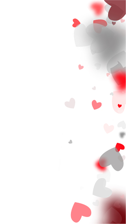 Red Hearts Falling on White Background. Illustration with Red Hearts for your Design. Wedding Background for Greeting Card, Invitation or Banner.   Vector illustration.