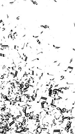 Notas musicales sobre fondo blanco. Orientación vertical. Muchos graves aleatorios, clave de sol y notas. Símbolos musicales vectoriales. Fondo de jazz. Fondo abstracto del vector blanco y negro.
