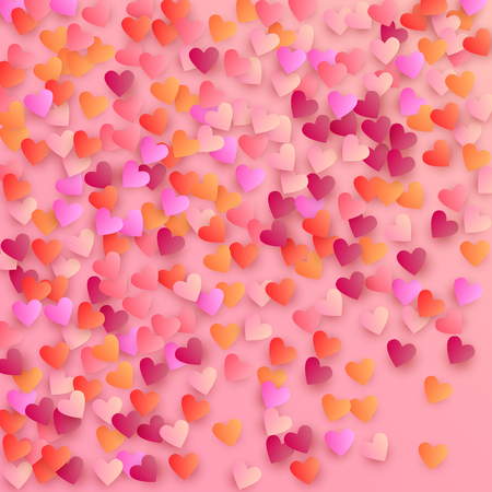 Hearts Falling Down. Illustration with Beautifull Hearts for your Design. Wedding Background for Greeting Card, Invitation or Banner.   Vector illustration. Illustration