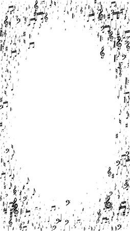 Notes de musique sur fond blanc. Orientation verticale. Beaucoup de notes tombantes aléatoires, de basse et de clé de sol. Symboles musicaux vectoriels. Fond de jazz. Abstrait de vecteur blanc et noir.
