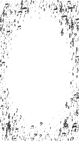 Musical Notes on White Background.  Vertical Orientation. Many Random Falling Notes, Bass and Treble Clef. Vector Musical Symbols.  Jazz Background. Abstract White and Black Vector Background.