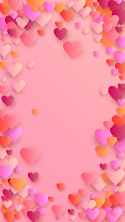 Rote Herzen, die auf rosa Hintergrund fallen. Illustration mit roten Herzen für Ihr Design. Hochzeitshintergrund für Grußkarten, Einladungen oder Banner. Vektor-Illustration