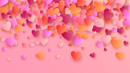 Hearts Background for your Design. Many Random Falling Hearts.  Valentines Background for Greeting Card, Invitation, Banner, Wallpaper, Flyer. Vector illustration.