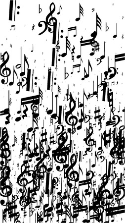 Black Musical Notes on White Background. Vertical Orientation. Many Random Falling Bass, Treble Clef and Notes. Vector Musical Symbols. Jazz Background. Abstract White and Black Vector Background.
