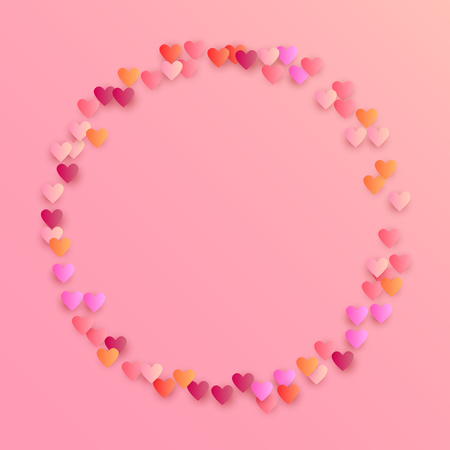 Pink Hearts Falling on White Background. Illustration with Pink Hearts for your Design. Wedding Background for Greeting Card, Invitation or Banner.   Vector illustration.