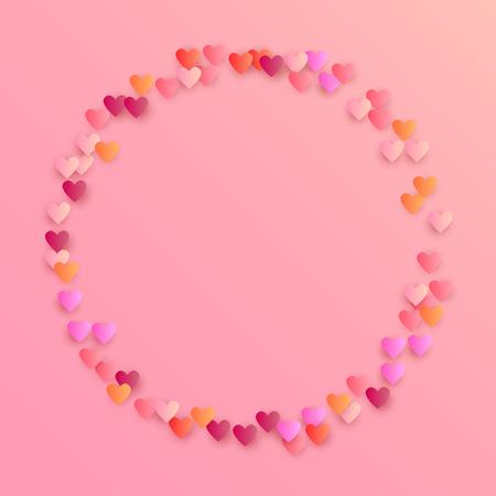 Roze harten vallen op witte achtergrond. Illustratie met roze harten voor uw ontwerp. Bruiloft achtergrond voor wenskaart, uitnodiging of banner. Vector illustratie.