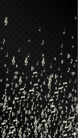 Notas musicales mágicas sobre fondo negro. Vector símbolos musicales luminosos. Muchas notas que caen al azar, clave de sol y de graves. Fondo mágico de jazz. Ilustración de vector abstracto blanco y negro.
