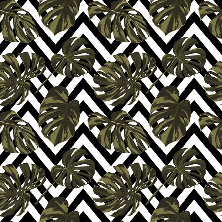 Tropical Print. Jungle Seamless Pattern. Vector Tropic Summer Motif with Hawaiian Flowers. Interior Design Swimwear Design.