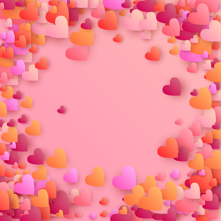 Gradient Hearts Falling Down. Illustration with Pink and Red Hearts for your Design.  Valentines Background for Greeting Card, Invitation, Banner, Wallpaper, Flyer. Vector illustration.