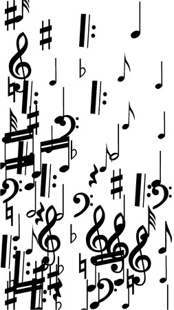 Musical Notes on White Background.  Vertical Orientation. Many Random Falling Notes, Bass and Treble Clef. Vector Musical Symbols.  Abstract White and Black Vector Background. Jazz Background. Illustration